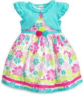 Nannette Little Girls' Poplin Dress and Pointelle Shrug Set