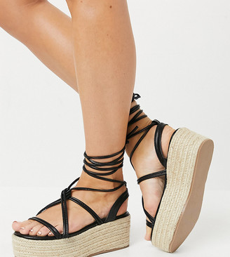 Glamorous Wide Fit flatform espadrille sandals in black