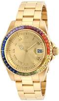 Invicta 20022 Women's Angel Crystal Accented Bezel Dial Yellow Steel Bracelet Dive Watch
