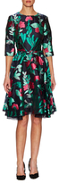 Oscar de la Renta Brocade Fit And Flare Dress
