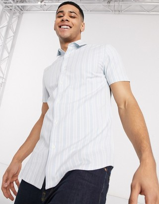 New Look short sleeve wide stripe oxford shirt in blue