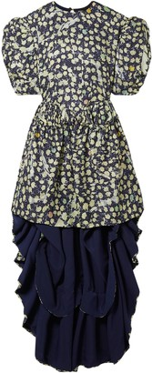 Preen by Thornton Bregazzi Sammie Asymmetric Satin-trimmed Printed Silk-blend Jacquard Mini Dress