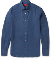 Isaia Slim-Fit Button-Down Collar Printed Cotton Shirt
