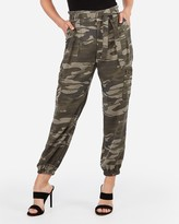 Express High Waisted Sash Tie Cargo Twill Utility Jogger Pant