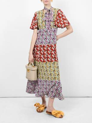 Valentino floral silk tieneck dress
