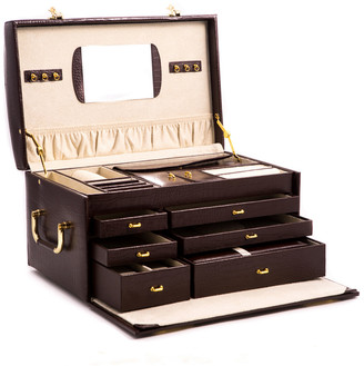 Bey-Berk Croco Leather Jewelry Chest