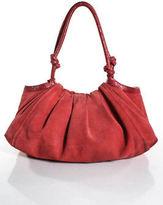 Patrizia Pepe Coral Pink Suede Leather Pleated Shoulder Handbag