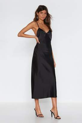 Nasty Gal Womens Go With The Low Satin Midi Dress - Black - 14, Black