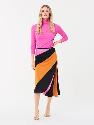 Diane von Furstenberg Mariel Silk Crepe de Chine Midi Skirt