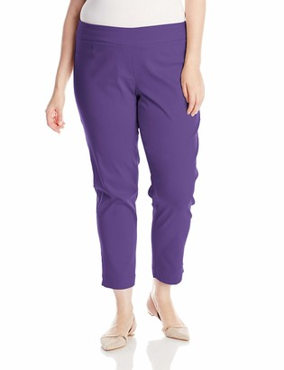 On SLIM-SATION Women's Plus Size Wide Band Pull Ankle Pant with Tummy Control