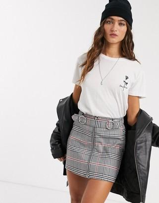 Bershka zip front check mini skirt in gray