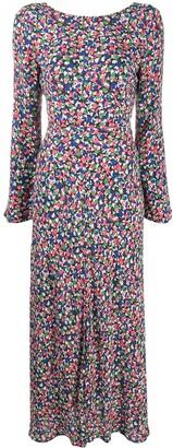 Rixo Smudge-Print Midi Dress