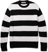 McQ Oversized Striped Cable-Knit Wool Sweater
