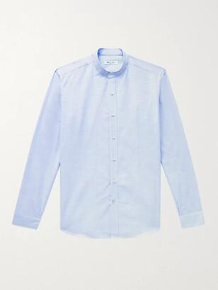 Loro Piana Grandad-Collar Slub Cotton Shirt