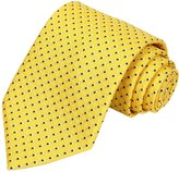 KissTies Blue White Dot Tie Extra Long Necktie in Gift Box, Yellow (63'' XL)