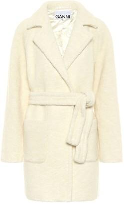 Ganni Wool-blend boucle wrap coat