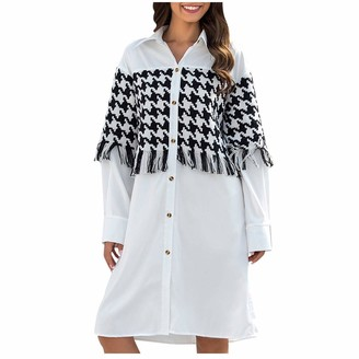 Your New Look Women's Fashion Houndstooth Tassel Splicing Lapel Shirt Dress Casual Long Sleeve Turn Down Buttons Dress Long Shirts for Work Daily White