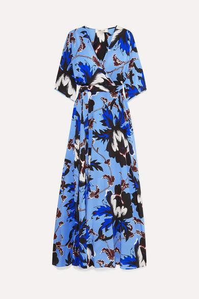 Diane von Furstenberg Eloise Floral-print Silk-crepe Wrap Maxi Dress - Blue