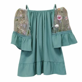JURTEE Fashion Women's Tunic Top Plus Size Embroidered Perspective Off Shoulder Mid Sleeve T-Shirt Blouse Size 10-24 Green