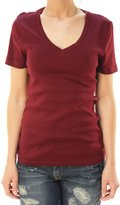 J.Crew J. Crew Women's Short Sleeve V-Neck Basic T-Shirt Maroon/ -S