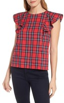 Draper James Women's Angie Check Ruffle Top