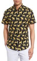 Bonobos Men's Slim Fit Short Sleeve Cheetah Print Sport Shirt