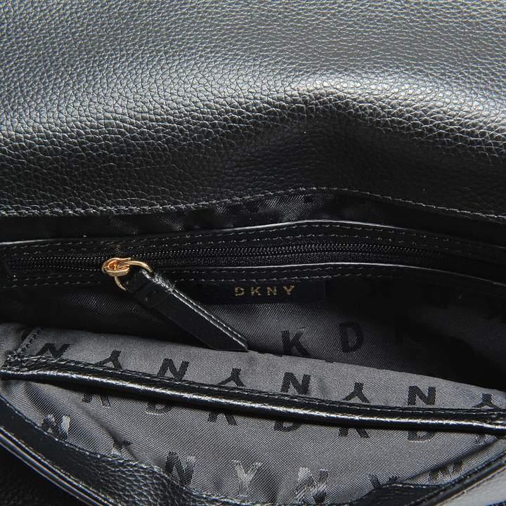 DKNY Elissa Large Shoulder Bag in Black Pebbled Split Leather