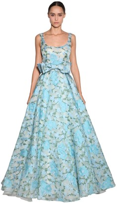 Luisa Beccaria Embroidered Organza Long Dress