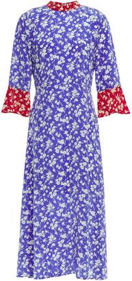 HVN Two-tone Floral-print Silk Midi Dress