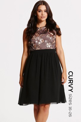 Little Mistress Curvy Black and Gold Sequin Fit and Flare Dress