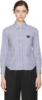 Comme des Garcons Blue & White Striped Heart Patch Shirt