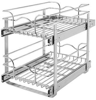 """Rev-A-Shelf 9"""" Wide 18"""" Deep Base Kitchen Cabinet 2 Tier Pull Out Wire Basket"""