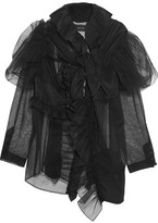 Simone Rocha Ruffled Tulle And Silk Crepe De Chine Scarf - Black
