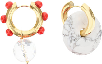 Timeless Pearly HOOP EARRINGS WITH DIFFERENT PENDANTS OS Gold, Red, White