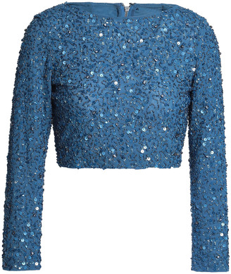 Alice + Olivia Cropped Sequined Knitted Top