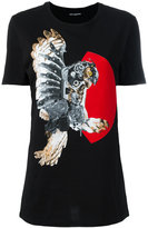 Neil Barrett mechanical owl print T-shirt - women - Cotton - L