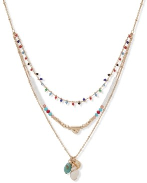 """lonna & lilly Gold-Tone Shell & Multicolor Bead Multi-Row Pendant Necklace, 18-1/2"""" + 3"""" extender"""