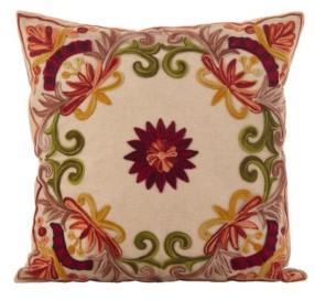 "Saro Lifestyle Embroidered Floral Design Cotton Polyester Filled Throw Pillow, 18"" x 18"""