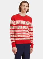 Gucci Loved Jacquard Wool Crew Neck Sweater in Red