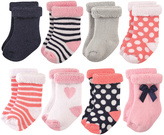Hudson Baby Pink & White Polka Dot Terry Cloth Eight-Pair Socks Set