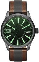 Diesel Men's Rasp Brown Leather and Black Polyurethane Strap Watch 46x53mm DZ1765