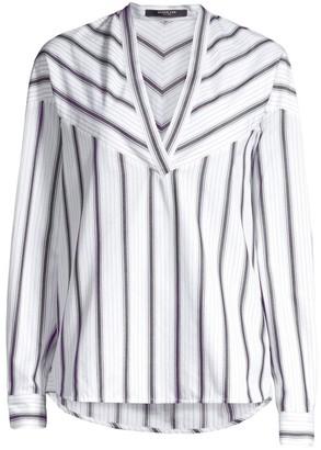 Derek Lam Stripe Cotton V-Neck Tunic
