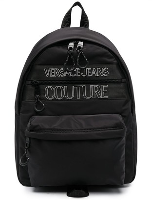 Versace Jeans Couture Logo-Print Multi-Pocket Backpack