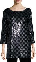 Joan Vass 3/4-Sleeve Square Sequined Tunic