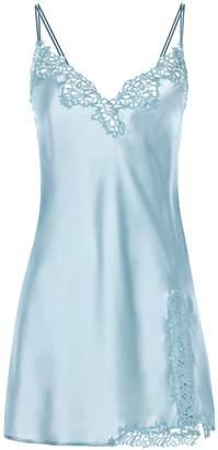 La Perla Petit Macrame Light Blue Silk Slip With Macrame
