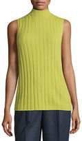 Lafayette 148 New York Sleeveless Mock-Neck Ribbed Cashmere Top