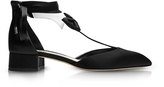 Olgana Paris La Garconne Black and White Satin Mid-Heel Pump