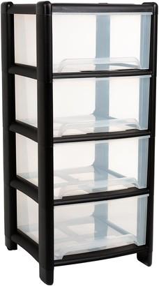 Wham 4 Drawer Black Storage Tower