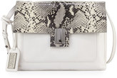Badgley Mischka Janine Snake-Embossed Leather Crossbody Bag, White