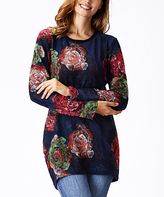 Navy Floral Tunic - Plus Too